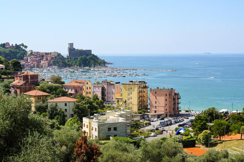 Lerici with port and castle, a picturesque village in Liguria, province of La Spezia and part of the Italian Riviera on the gulf stock photography