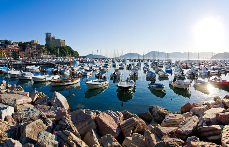 Lerici typical village, Castle and port in Liguria royalty free stock photos