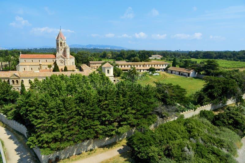 Lerins修道院在圣徒Honorat海岛,法国 免版税库存图片