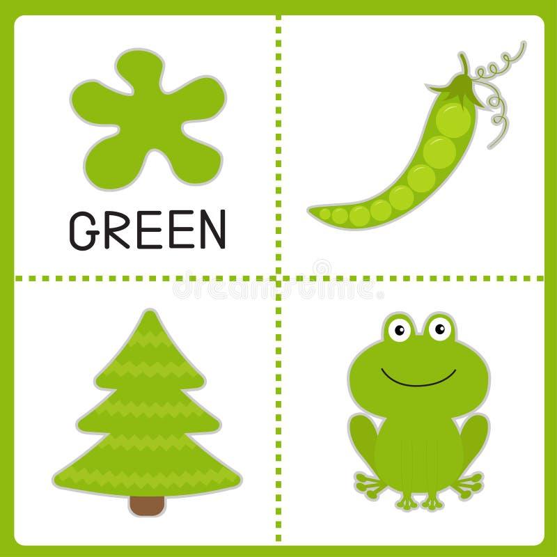 Lernen der grünen Farbe. Frosch, grüne Erbse und Tannenbaum. Pädagogisch vektor abbildung