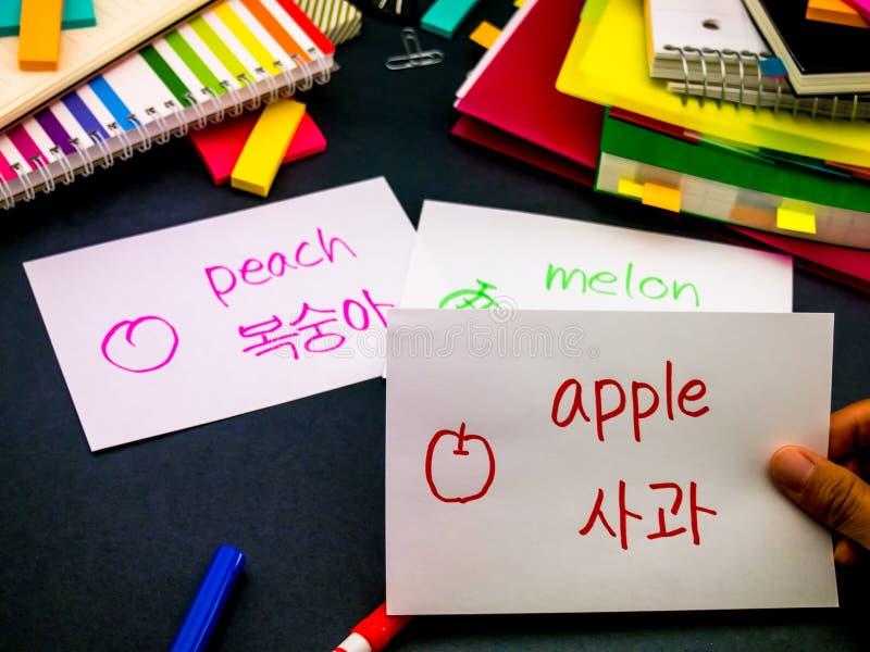 Lernen der neuen Sprache, die ursprüngliche Flash-Karten macht; Koreanisch lizenzfreies stockbild