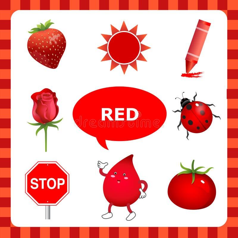 Lernen der roten Farbe lizenzfreie abbildung
