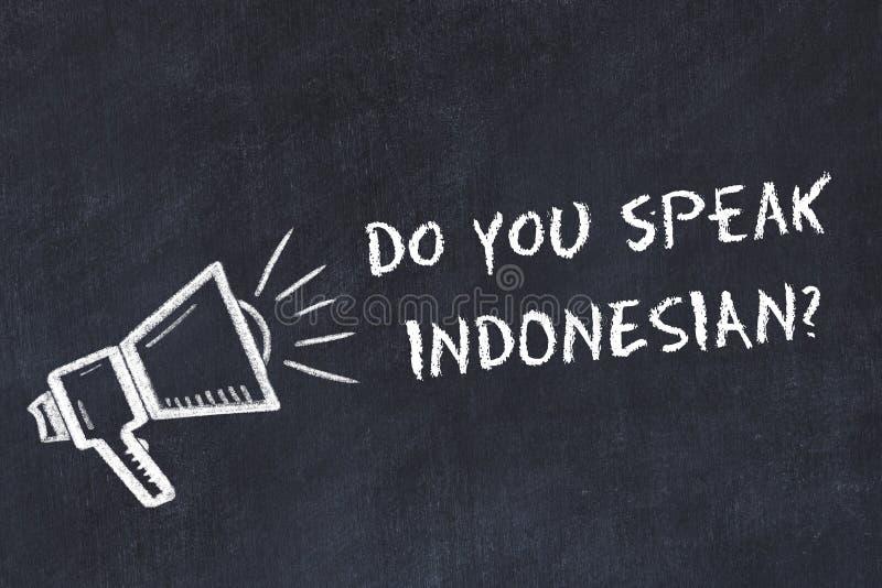 Lernen des Fremdsprachekonzeptes Weissen Sie Symbol des Lautsprechers mit Phrase Sie sprechen Indonesisch vektor abbildung