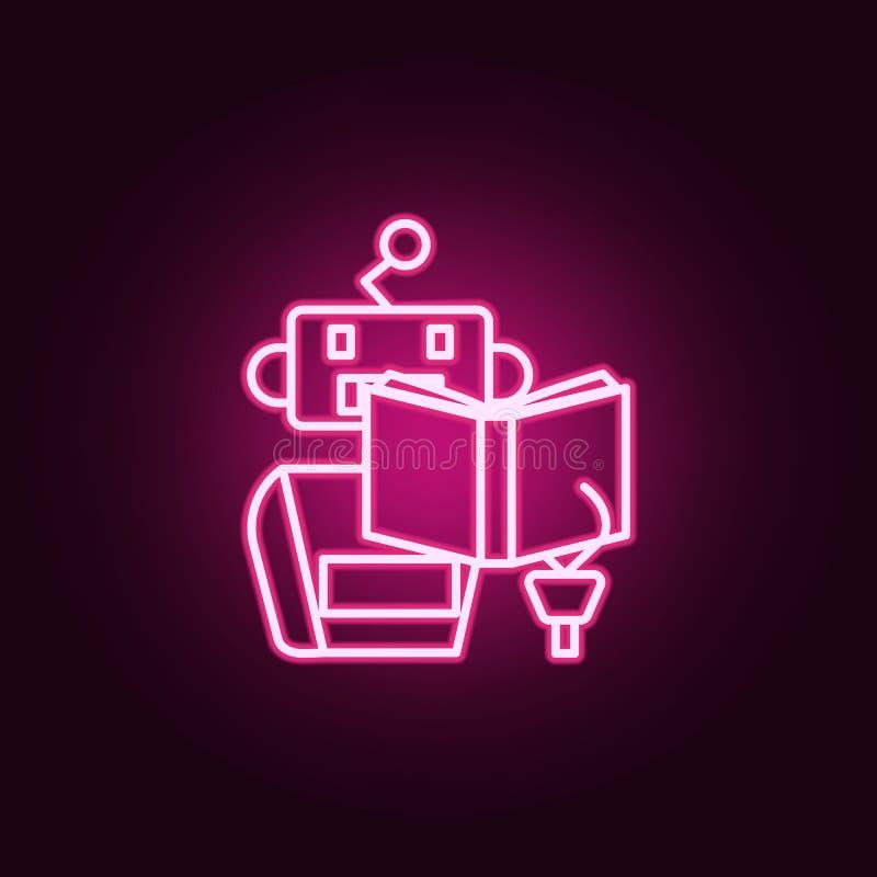 Lernen- Maschine las Buchneonikone Elemente des Satzes der künstlichen Intelligenz Einfache Ikone für Website, Webdesign, bewegli stock abbildung