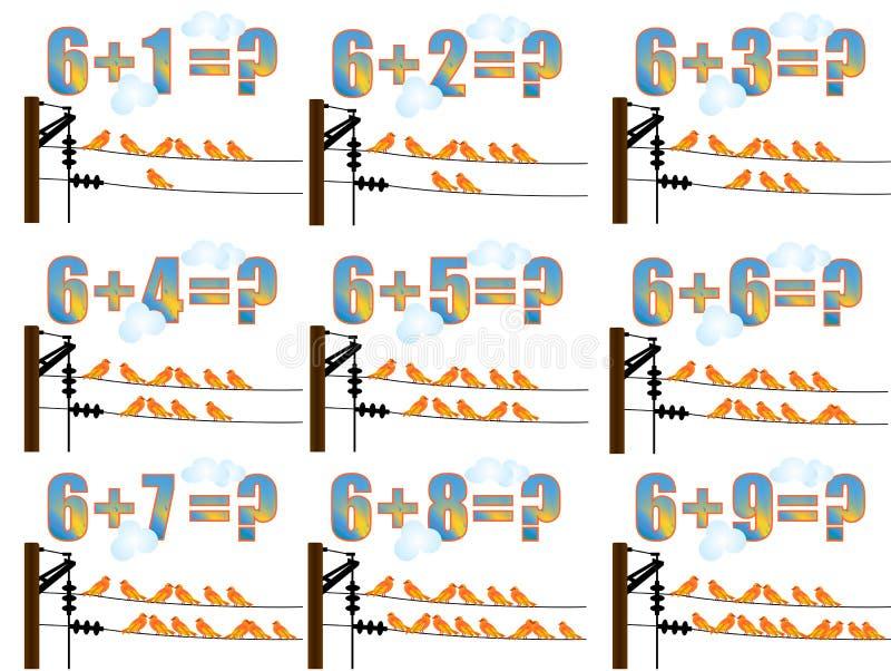 Lernen Mathe, 6 hinzufügend lizenzfreie abbildung