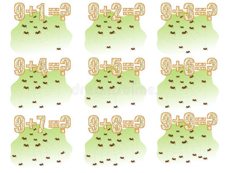 Lernen Mathe, 9 hinzufügend stock abbildung