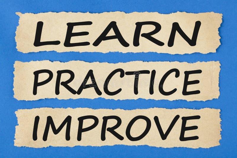 Lernen Sie, dass Praxis Konzept verbessert lizenzfreie stockbilder