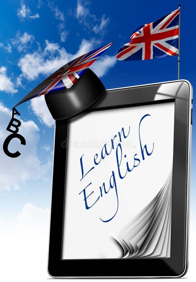 Lernen Sie Englisch - Tablet-Computer mit Staffelungs-Hut stock abbildung