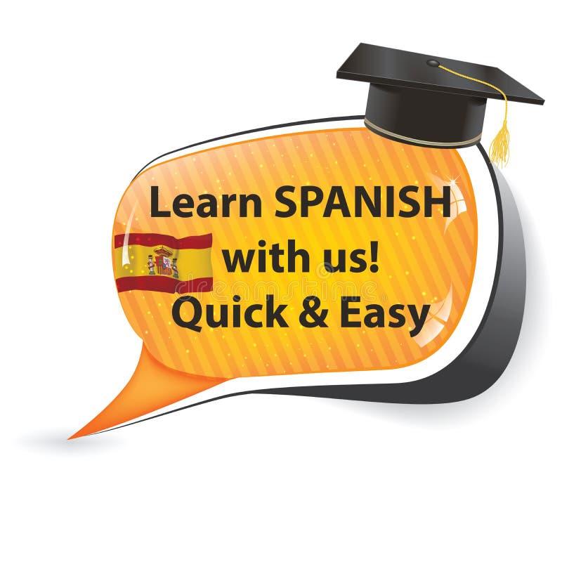 Lernen Sie Spanisch, mit uns! - Spanische Spracheblase vektor abbildung