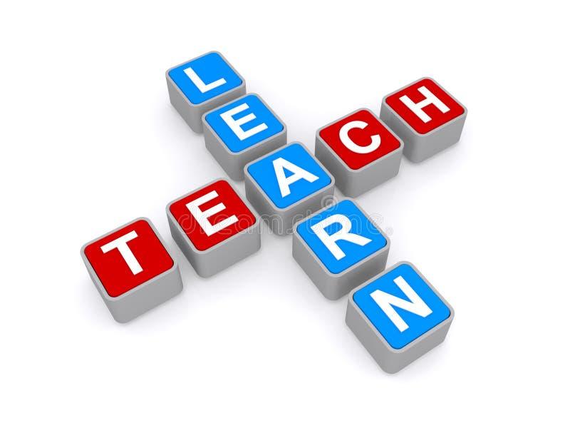 Lernen Sie und unterrichten Sie Zeichen stock abbildung