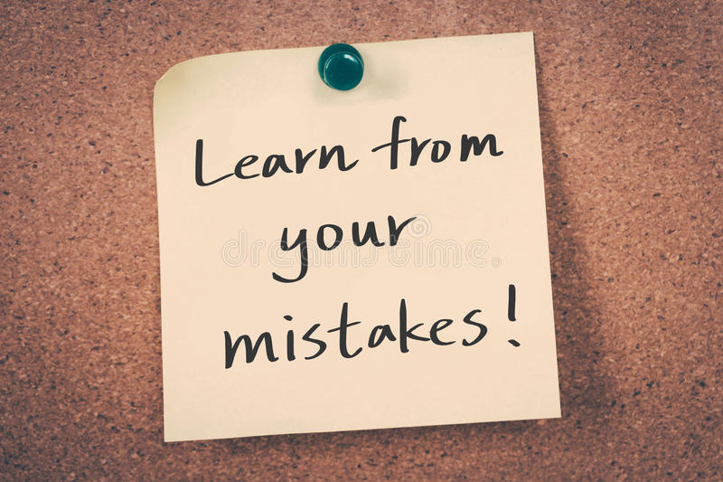 Lernen Sie von Ihren Fehlern lizenzfreies stockbild