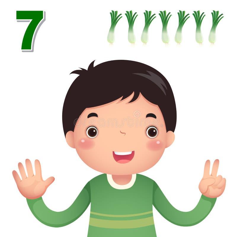 Lernen Sie Zahl und die Zählung mit kid's Hand, welche die Zahl s zeigt lizenzfreie abbildung