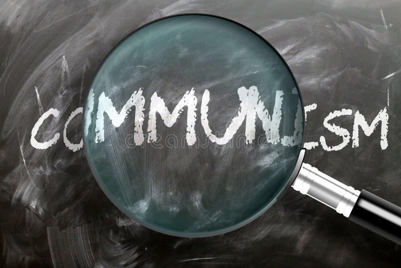 Lernen, studieren und inspizieren Sie den Kommunismus - er wird als ein großartiges Wort des Kommunismus abgebildet, symbolisiert stockbild