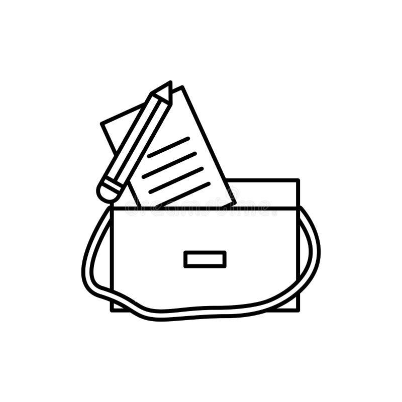 Lernen, Tasche, Stiftikone Element der Ausbildungslinie Ikone lizenzfreies stockbild