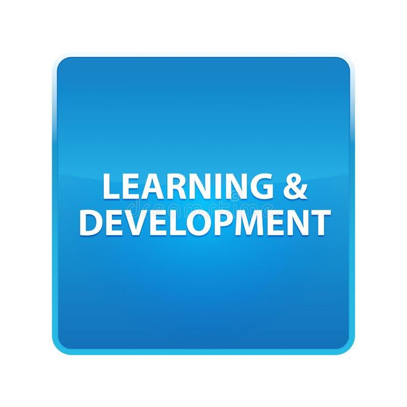 Lernen- u. der Entwicklung glänzender blauer quadratischer Knopf lizenzfreie abbildung
