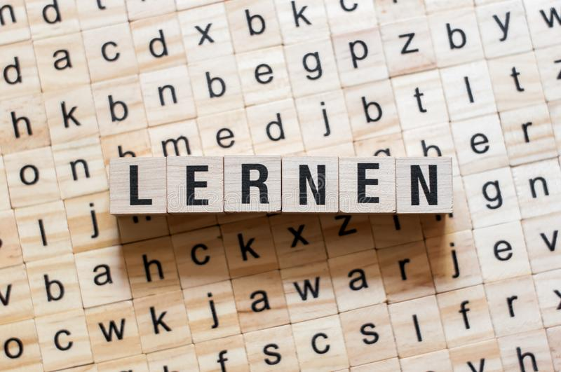 Lernen - word learning on german language,word concept stock photos