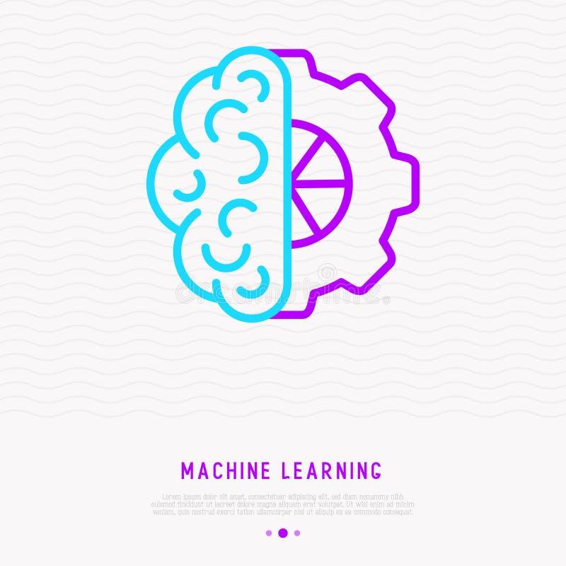 Lernfähigkeit- einer Maschineikone: halbes Gehirn und halbes Rad lizenzfreie abbildung