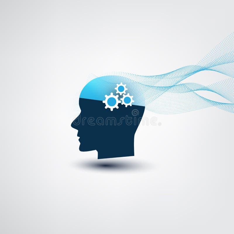 Lernf?higkeit einer Maschine, k?nstliche Intelligenz und Netzgestaltungs-Konzept mit gewellten Linien und menschlichem Kopf stock abbildung