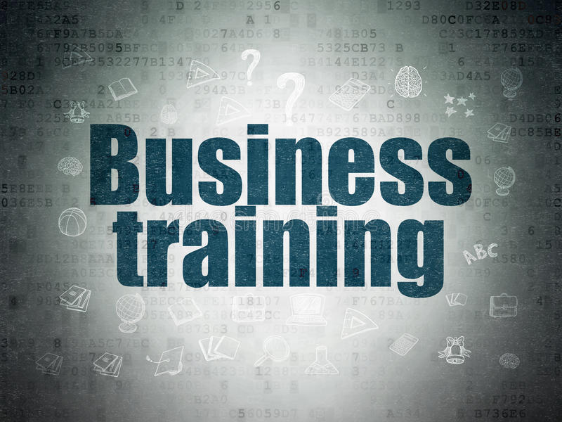 Lernkonzept: Geschäfts-Training auf Digital-Daten-Papierhintergrund vektor abbildung