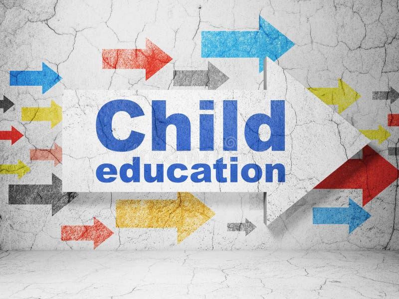 Lernkonzept: Pfeil mit Kindererziehung auf Schmutzwandhintergrund stockbilder