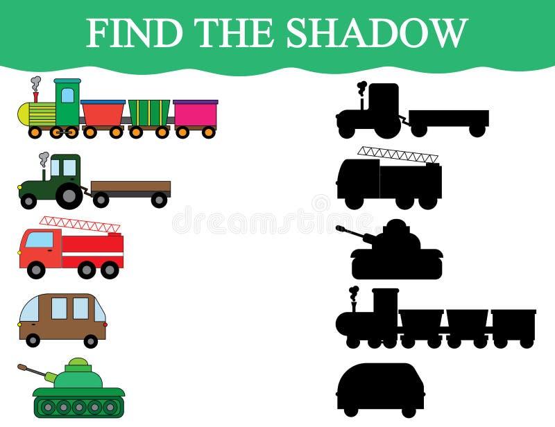 Lernspiel für Kinder Finden Sie die Schattengegenstände des Transportes Zug, Traktor, Kleinbus, Behälter stock abbildung