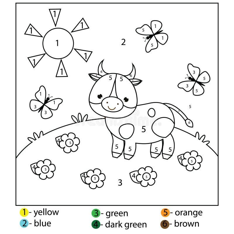 Lernspiel für Kinder und Kleinkinder Farbe durch Zahlen Bedruckbares Arbeitsblatt für Kinder Farbtonseite mit Kuh lizenzfreie abbildung