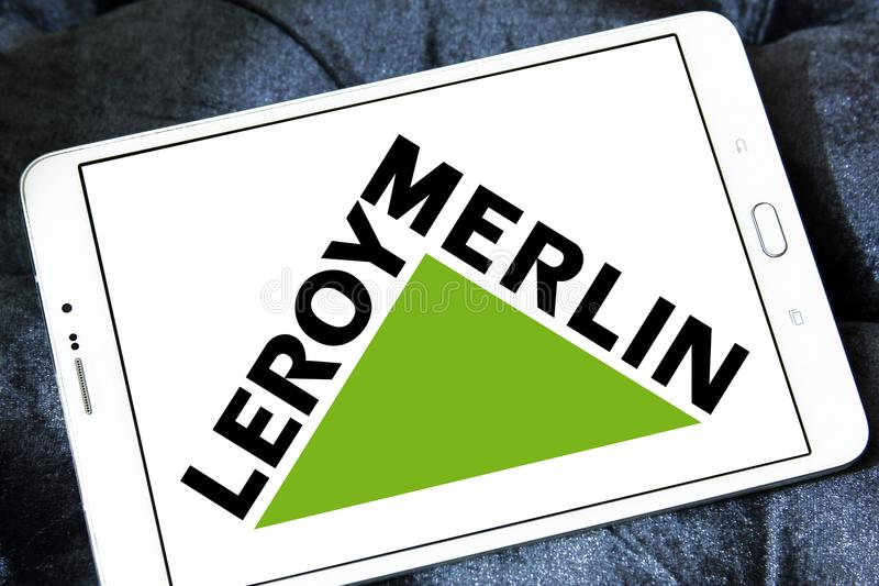 Leroy Merlin retailer logo. Logo of Leroy Merlin retailer on samsung tablet. Leroy Merlin is a French headquartered home improvement and gardening retailer stock photography