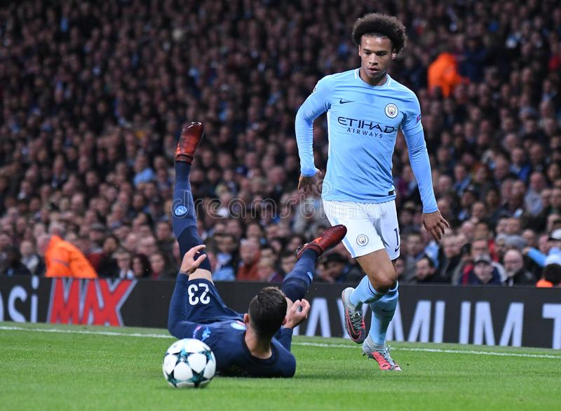 Leroy Sane. Football players pictured during the UEFA Champions League Group F game between Manchester City and Napoli on October 17, 2017 at City of Manchester stock photo