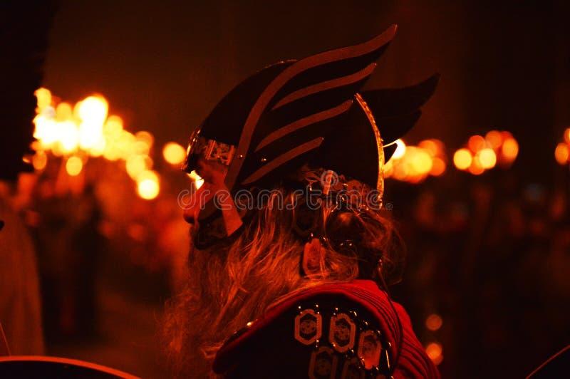 LERWICK, 26 1 2016 Helly Aa北欧海盗节日 图库摄影