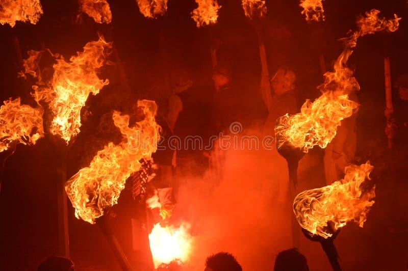 LERWICK, SZKOCJA: 26 1 2016 W górę Helly Aa Viking festiwalu zdjęcia stock