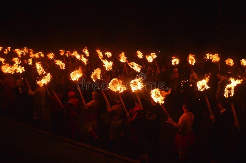LERWICK, 26 1 2016 W górę Helly Aa Viking festiwalu fotografia royalty free