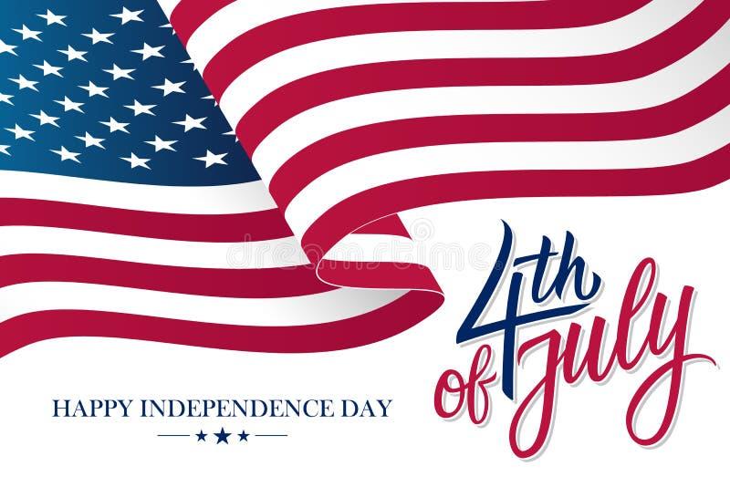 Les 4èmes heureux du Jour de la Déclaration d'Indépendance de juillet Etats-Unis célèbrent la bannière avec onduler le drapeau na illustration libre de droits