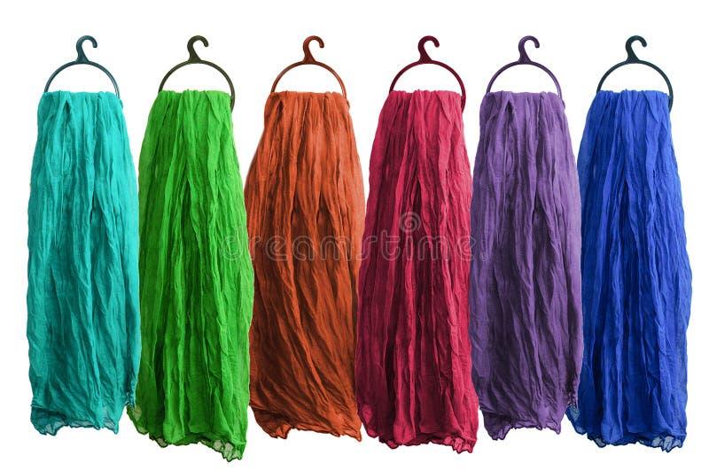 Les écharpes des femmes multicolores de coton photo libre de droits