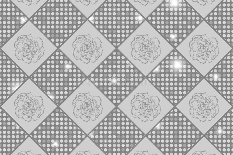 Les échecs sans couture argentés ont dénommé la texture de vintage avec des fleurs de clou de girofle et des ronds brillants illustration libre de droits