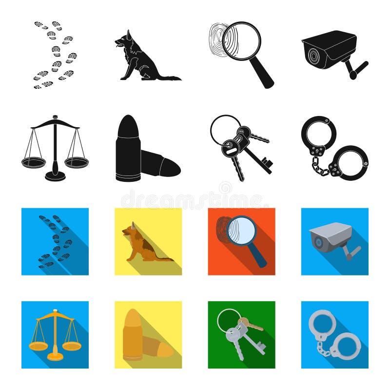 Les échelles de la justice, les cartouches, un groupe de clés, menotte Icônes réglées de collection de prison dans le noir, symbo illustration de vecteur