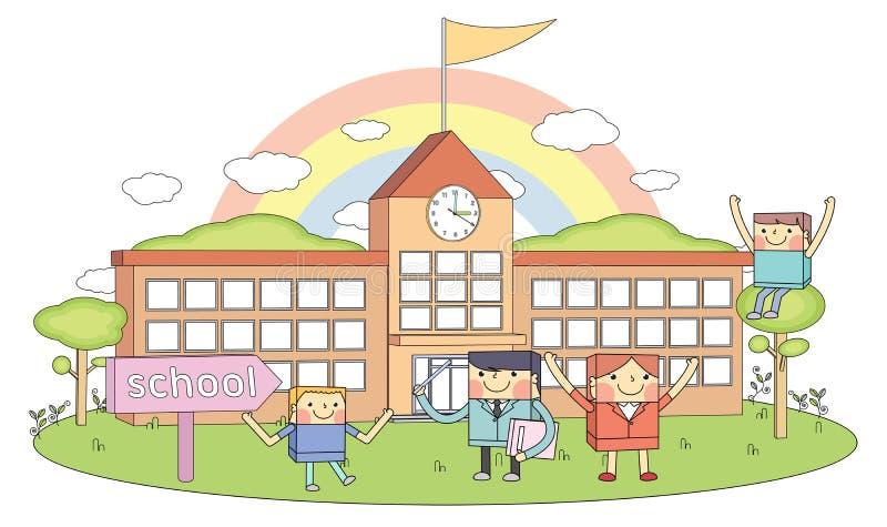 Les écoles et les professeurs et les jeunes étudiants rayent l'illustration de caractère illustration libre de droits