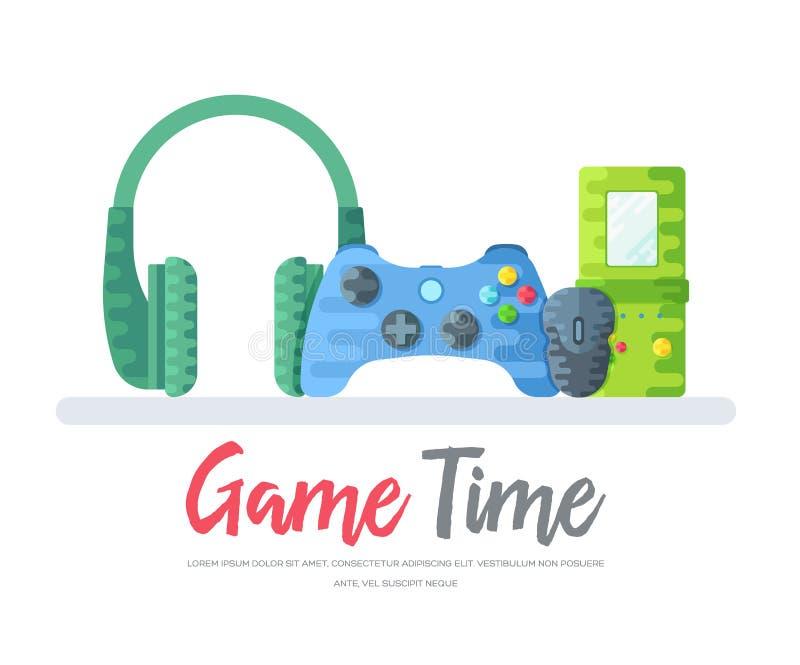 Les écouteurs avec le gamepad et la souris avec des tetris jouent au-dessus des mots de temps de jeu Illustration moderne de fond illustration stock