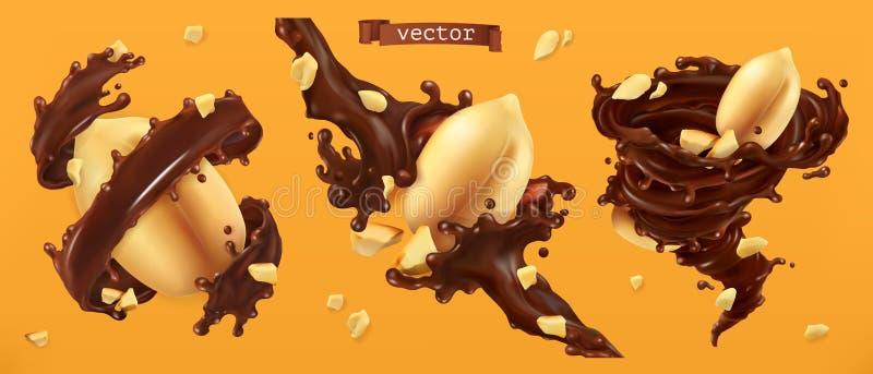 Les écrous et le chocolat d'arachide éclabousse vecteur 3d illustration libre de droits
