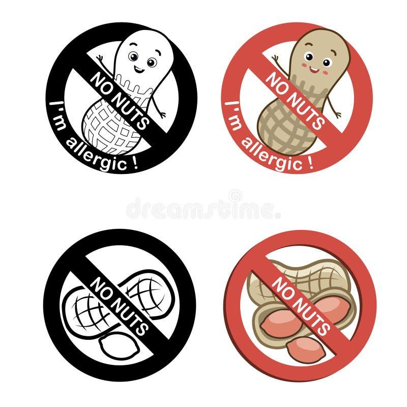 Les écrous libèrent l'ensemble de symbole avec le texte aucun écrous - le ` m d'I allergique Illustrations de vecteur sur un fond illustration libre de droits