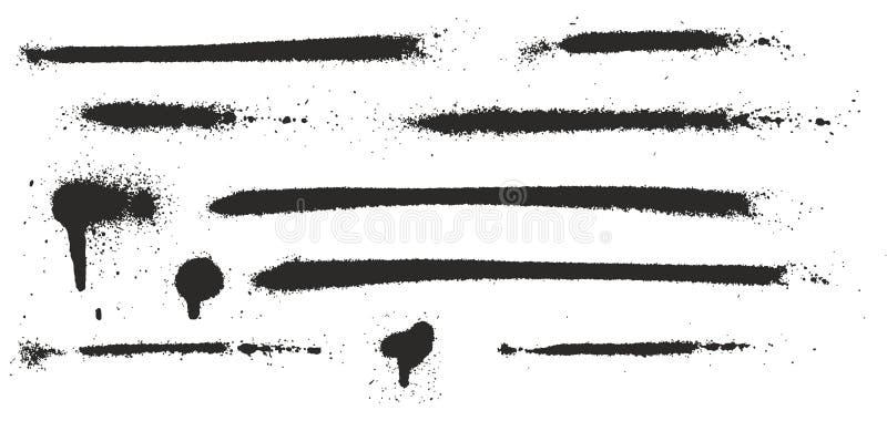 Les égouttements, les points, les lignes et l'éclaboussure maigres superbes de peinture de jet ont placé 04 illustration libre de droits