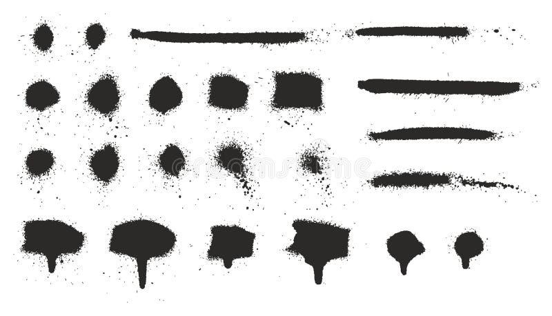 Les égouttements, les points, les lignes et l'éclaboussure maigres superbes de peinture de jet ont placé 06 illustration de vecteur