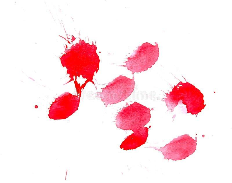 Les égouttements rouges abstraits de tache d'aquarelle, sang abstrait éclabousse l'illustration illustration stock