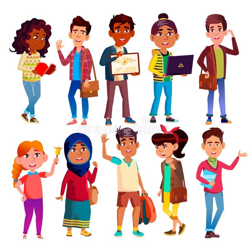 Les élèves de lycée, adolescents dirigent l'ensemble de personnages de dessin animé illustration libre de droits