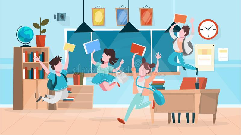 Les élèves heureux sautent dans la salle de classe B?timent scolaire illustration stock