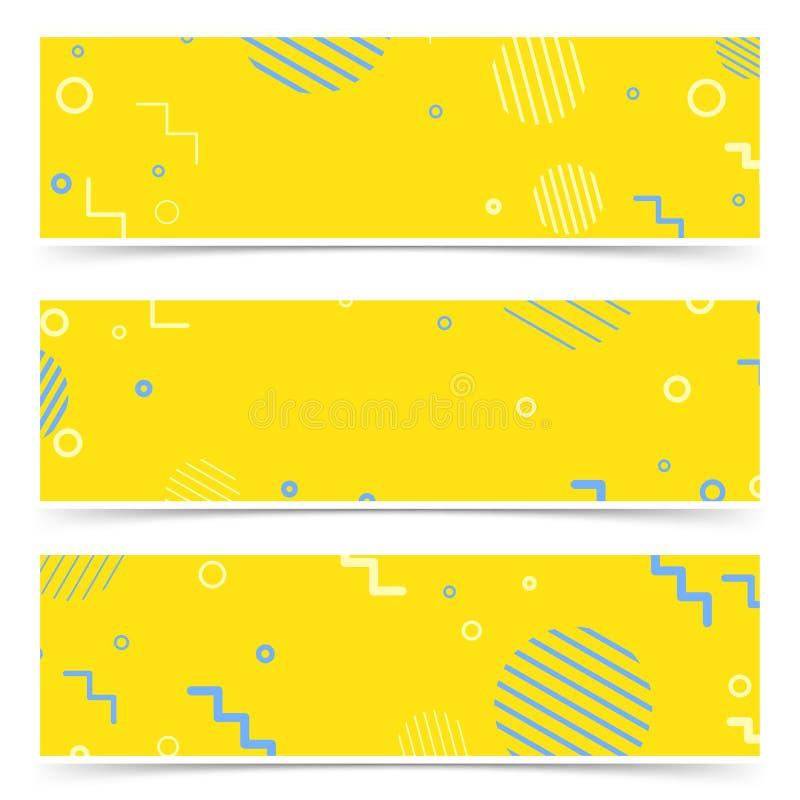Les éléments abstraits jaune-bleus lumineux de vintage de hippie cardent le collec illustration stock