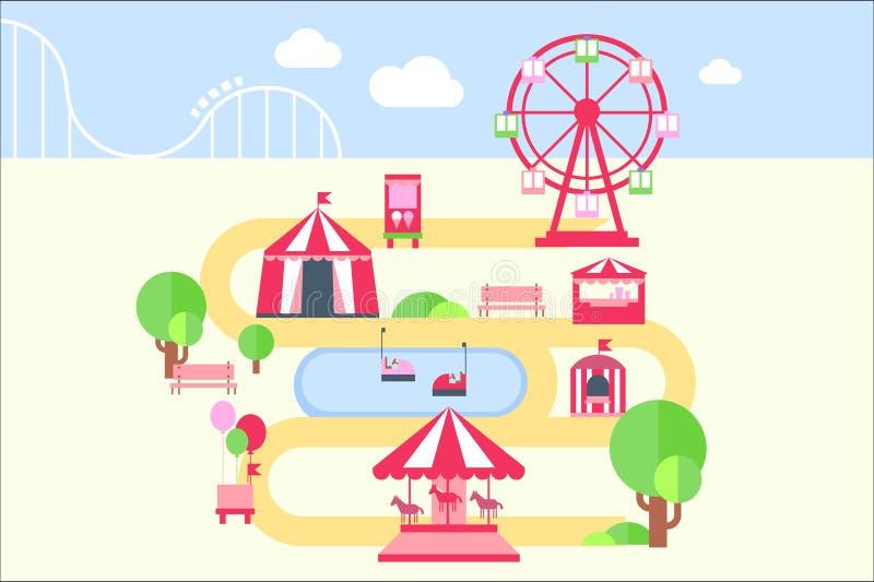 Les éléments, les attractions et les carrousels infographic de carte de parc d'attractions dirigent l'illustration dans le style  illustration de vecteur