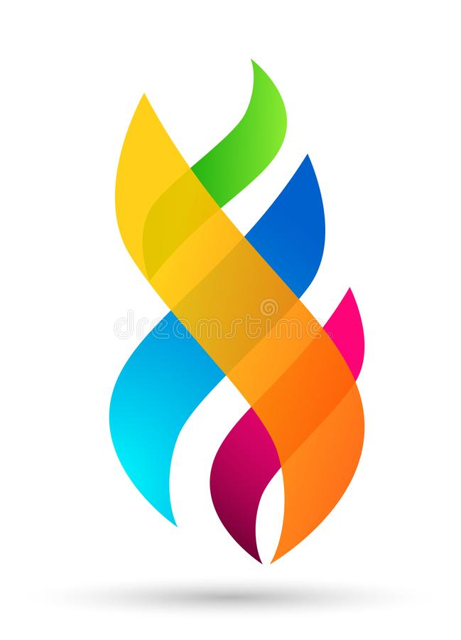 Les éléments colorés de nature d'icône de symbole d'énergie du feu de logo de flamme dirigent la conception sur le fond blanc illustration stock