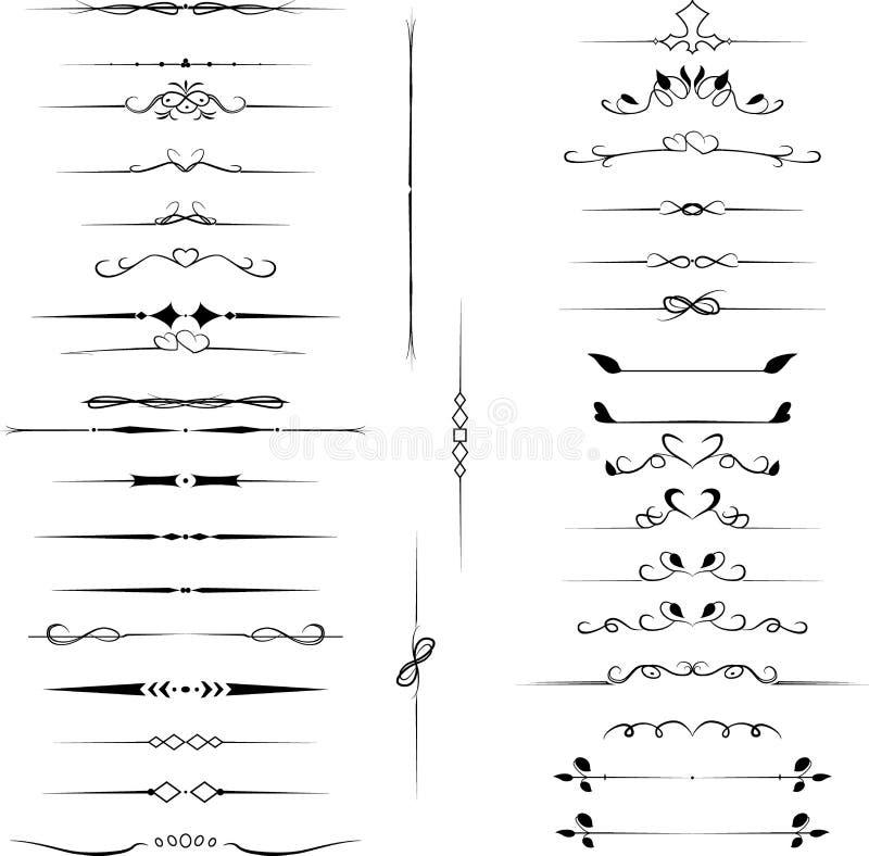 Les éléments décoratifs réglés de conception, des flourishes calligraphiques paginent le décor illustration stock