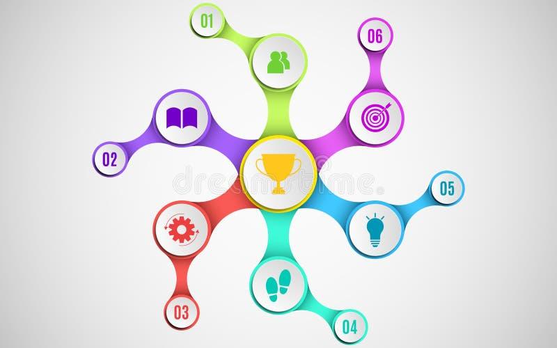 les éléments 3d de l'infographics pour vos affaires projette Papier vide, cercles tridimensionnels dans le metaball de style Mani illustration libre de droits