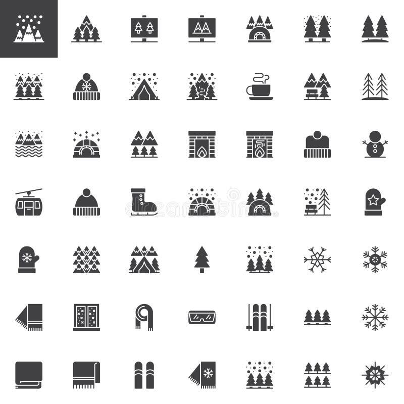 Les éléments d'hiver dirigent l'ensemble d'icônes illustration de vecteur